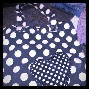 Tote with heart and polka dots